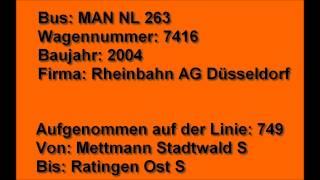 preview picture of video '[Sound] Bus MAN NL 263 (Wagennr. 7416) der Rheinbahn AG, Düsseldorf'