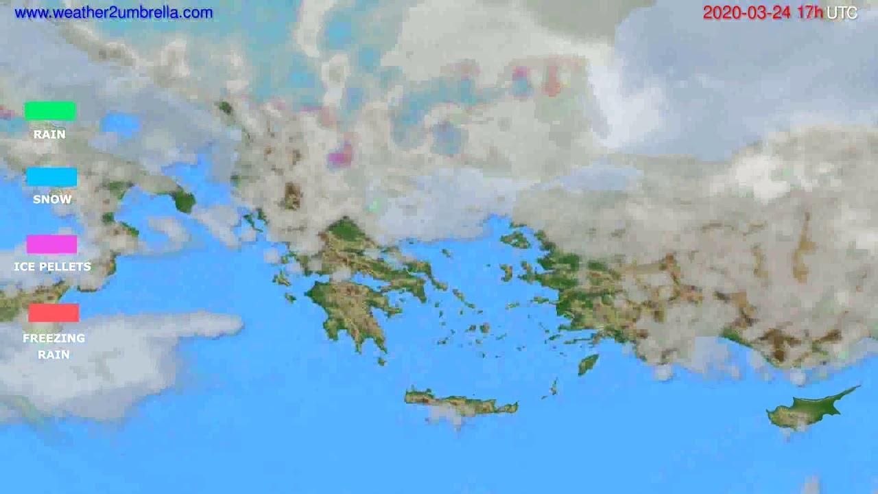 Precipitation forecast Greece // modelrun: 12h UTC 2020-03-23