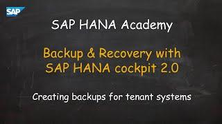 [2.0 SPS 03] SAP HANA Administration: Backup Tenant  - SAP HANA Academy