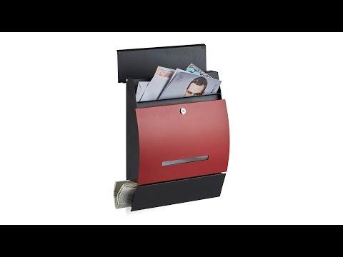 Design Briefkasten mit Zeitungsfach Rot