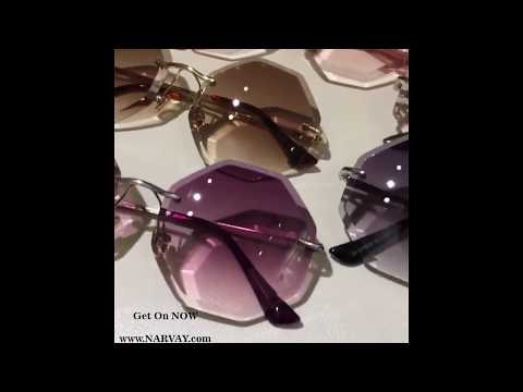 BEST GRADIENT BROWN PINK RIMLESS SUN GLASSES