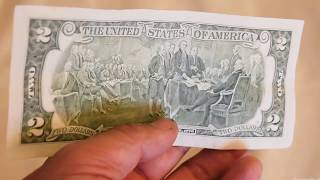 What a real 2 Dollar Bill looks like - paper money American $2 cash