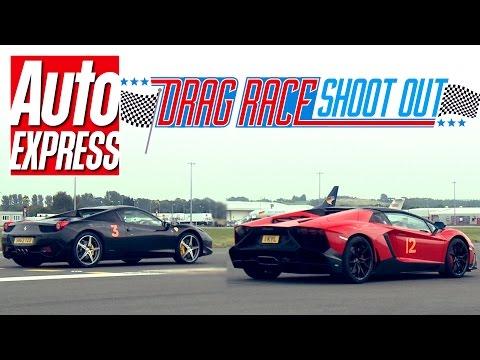 Ferrari 458 Spider vs Lamborghini Aventador Roadster 50th Anniversary - Drag Race Shoot-out