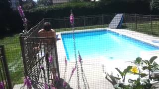 Guy jumps in pool naked!
