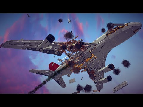Reinforced Airbus A380 Shot Down by Guided Airburst Missiles + Other Awesome Destruction   Besiege