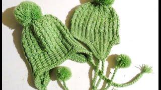 Вяжем спицами  - шапочка с ушками. Анонс