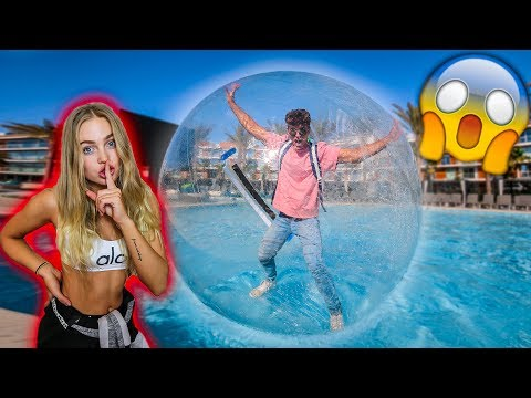 MY GIRLFRIEND TRAPPED ME IN A GIANT BUBBLE BALL! *PRANK*