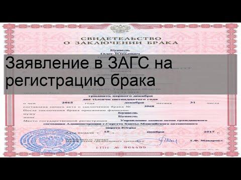 Заявление в ЗАГС на регистрацию брака