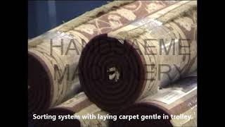 Sorting system with laying carpet gentle in trolley