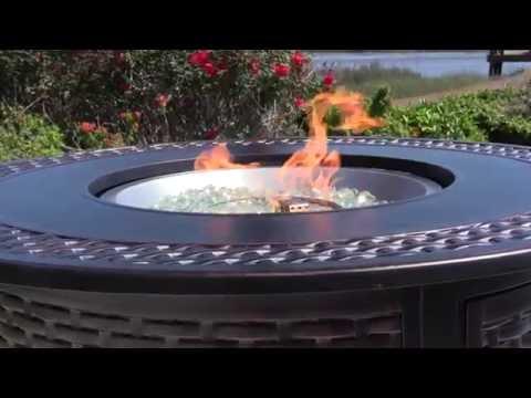 Fire Sense Bellante 50,000 BTU Propane Round Fire Pit Table - Woven Cast Aluminum - 62195