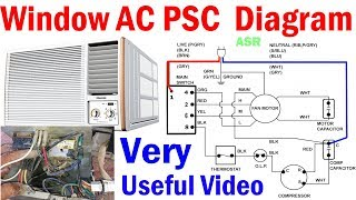 Window AC PSC Wiring Diagram Capacitor selector switch Blower Motor complete wiring diagram