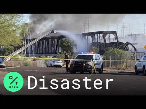 Massive Fire Breaks Out After Arizona Freight Train Derailment, Bridge Collapse Over Tempe Town Lake