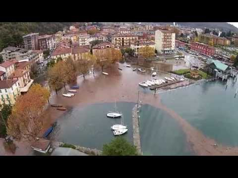 Laveno Mombello esondazione Lago Maggiore 13 novembre 2014 ripresa Drone