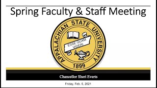 Chancellor Sheri Everts' remarks from the Spring 2021 App State Faculty and Staff Meeting