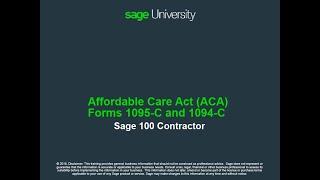 Sage 100 Contractor (U.S.)- ACA Forms 1095-C and 1094-C