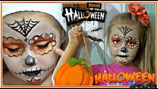 👻  Easy Halloween makeup Sparkles & Scales tutorial   Макияж на хеллоуин стразы ▲Kids Movie