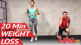 20 Min Home Workout without Equipment for Women & Men - Exercises to Lose Weight Fast at Home by HASfit