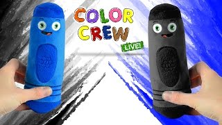 Learn Colors for Kids - Black & Blue   Coloring with Color Crew LIVE Plush Toys   BabyFirst