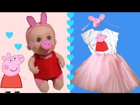 Disfraz de última hora casero de Peppa Pig para niños y muñecos