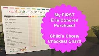 My FIRST Erin Condren Purchase~ Childs Chore Chart!