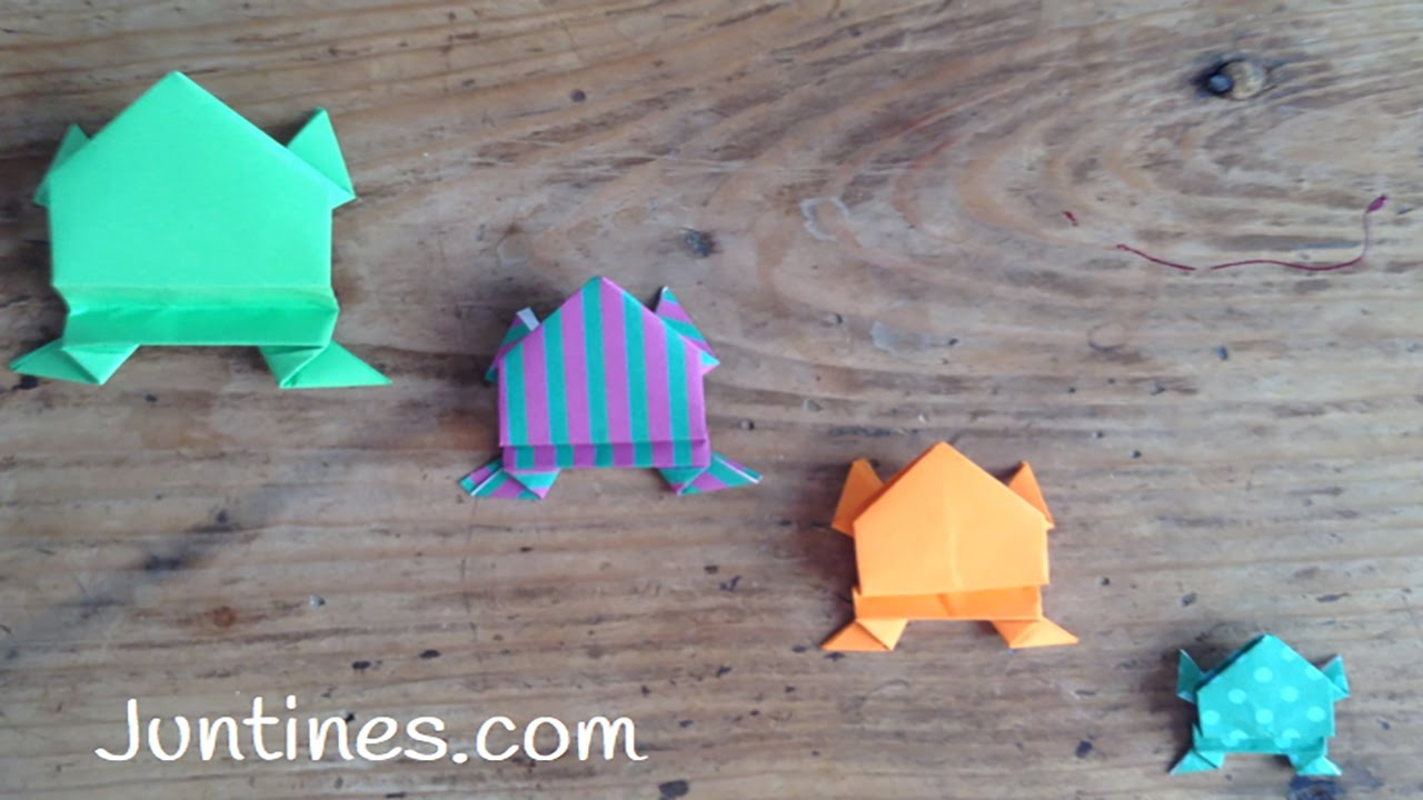 Rana de papel saltarina, origami para niños