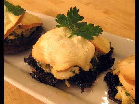 """Crab Stuffed Portobello Mushrooms Recipe Video – Laura Vitale """"Laura In The Kitchen"""" Episode 31"""