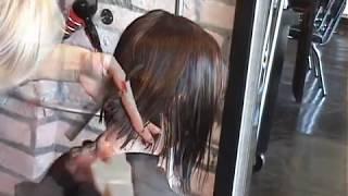 LAYERED ANGLED BOB HAIR CUT PART 1
