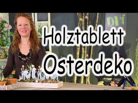 DIY Osterdeko auf dem Holztablett | Frühlingstablett | Frühlingsdeko | Tischdeko | Floristik24