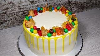 Детский торт на День рождения. Видео рецепт. Без мастики. English Subtitles