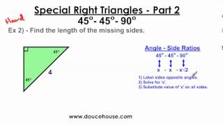 Special Right Triangles - Part 2 (45-45-90)