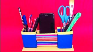 DIY - Pen Stand And Mobile Holder With Paper || Desk Organizer / Pencil Holder.