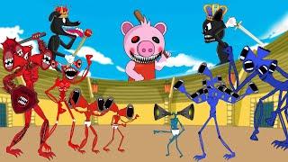 Team Red Siren Head Vs Blue Siren Head With Piggy, Cartoon Cat - Roblox Piggy Animation | GV Studio