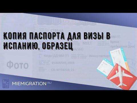 Копия паспорта для визы в Испанию, образец