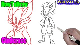 Raboot  - (Pokémon) - How to draw Pokemon   Cinderace   easy drawing step by step