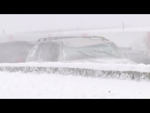 One person was killed and dozens were hurt when more than 100 vehicles crashed on a highway in Wisconsin. Sunday's crash in Winnebago County came during near-blizzard conditions. (Feb. 25)