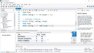 Introduction to Queries with MySQL Workbench  & Sakila Sample Database