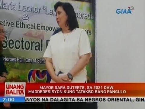 [GMA]  UB: Mayor Sara Duterte, sa 2021 daw magdedesisyon kung tatakbo bang pangulo