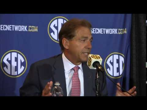 Nick Saban speaks at SEC Media Days 2014