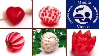 5 Easy Vegetables Garnishes In 2 Minutes  / How-to, Cooking Tricks, Food Art
