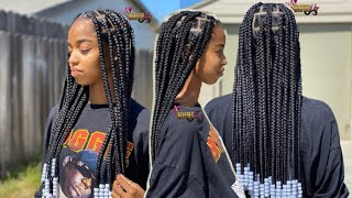 Trending Large Knotless Box Braids With Beads| Bileaf Hair