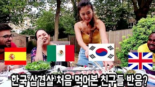 English, Mexican, Spanish trying Korean BBQ for the first time reaction!!+Mukbang!!