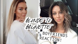 Blonde to Brunette + Boyfriends Reaction | HAIR TRANSFORMATION