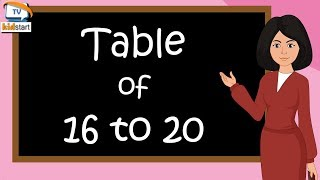 Table of 16 to 20   rhythmic table of 16 to 20   multiplication table of 16 to 20   Kids start tv