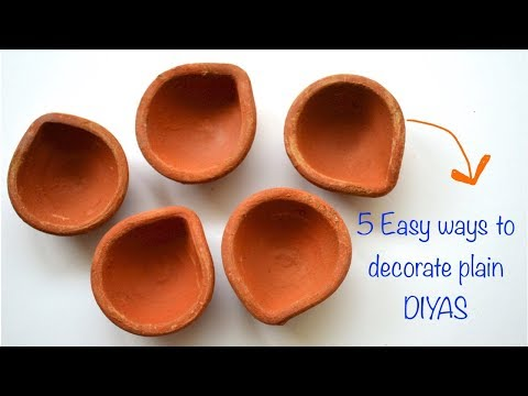 DIWALI DECOR DIY SERIES 2017 I 5 DIYA PAINTING IDEAS I VERY EASY I Ankinish creations
