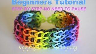 Rainbow Loom-Multicolor Triple Single bracelet for beginners-STEP BY STEP