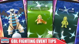 Timburr  - (Pokémon) - TOP 3 TIPS to MAX the *GO BATTLE LEAGUE EVENT* - SHINY TIMBURR, GIRATINA COUNTERS   POKÉMON GO