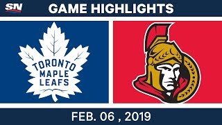 NHL Highlights | Senators vs. Maple Leafs - Feb. 6, 2019