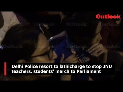 Delhi Police resort to lathicharge to stop JNU teachers, students\ march