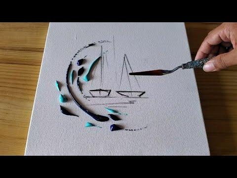 abstract acrylic painting waves and sailboats