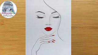 Easy Way To Draw A Girl With Red Lips || Pencil Sketch || Girl Drawing  || Güzel Kız Çizimi